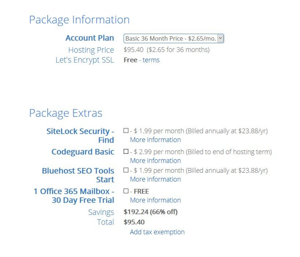 Bluehost annual package
