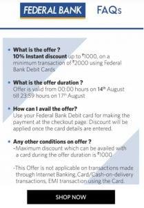 myntra federal bank offer