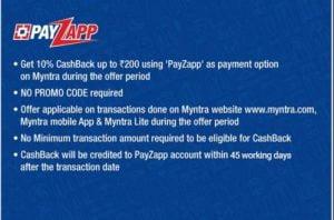 Myntra Payzapp offer 2020