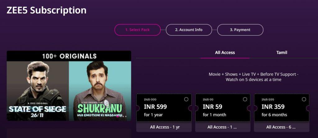 Zee5 mobile app subscription