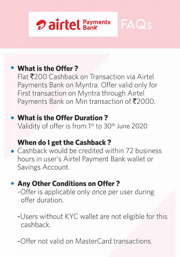 Myntra Airtel Offer 2020