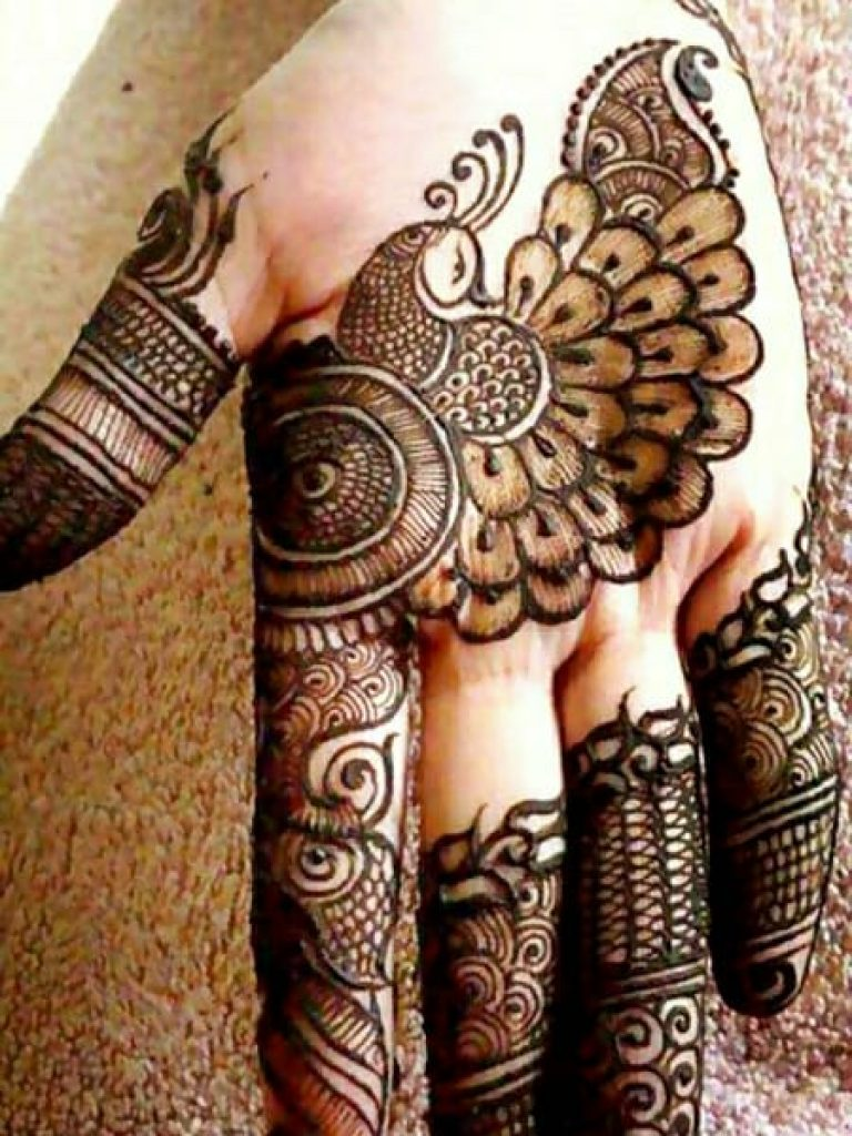 Creative Peacock Arabic Mehndi Design