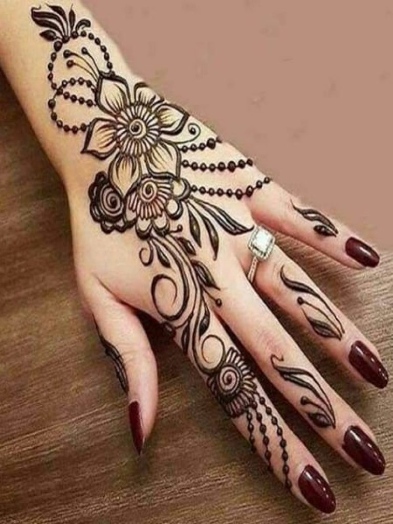 Criss Cross Dots Arabic Mehndi  Design
