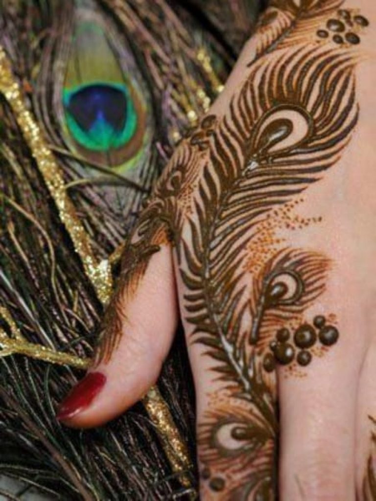 Peacock Leaves Arabic Mehndi Design