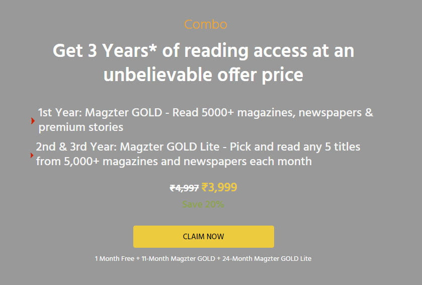 Magzter 3 Year Gold Subscription Offer in India
