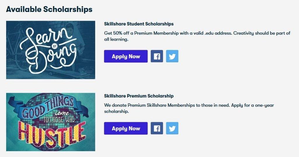 skillshare premium scholarship for student