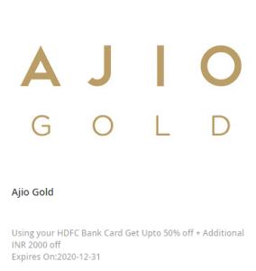AJIO HDFC Cashback Offer