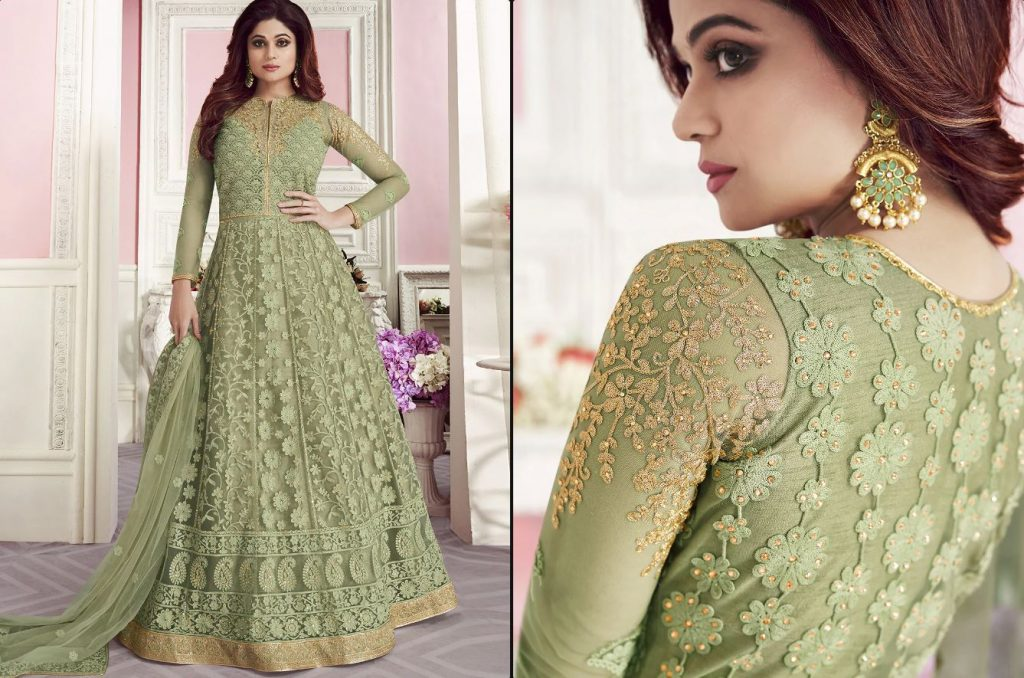Floor Touch Anarkali with Embroidery