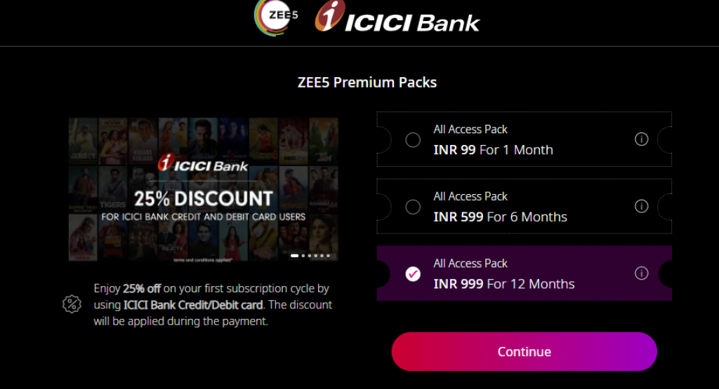 ICICI Zee5 Subscription Offer