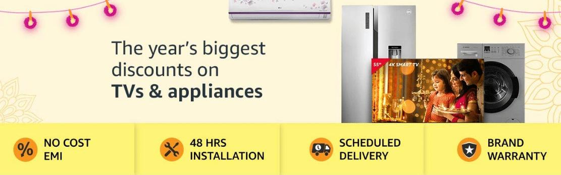 amazon diwali offers on TVs Appliances