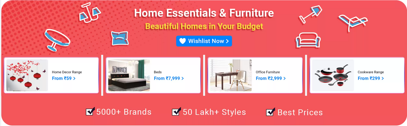 flipkart home furniture sale today