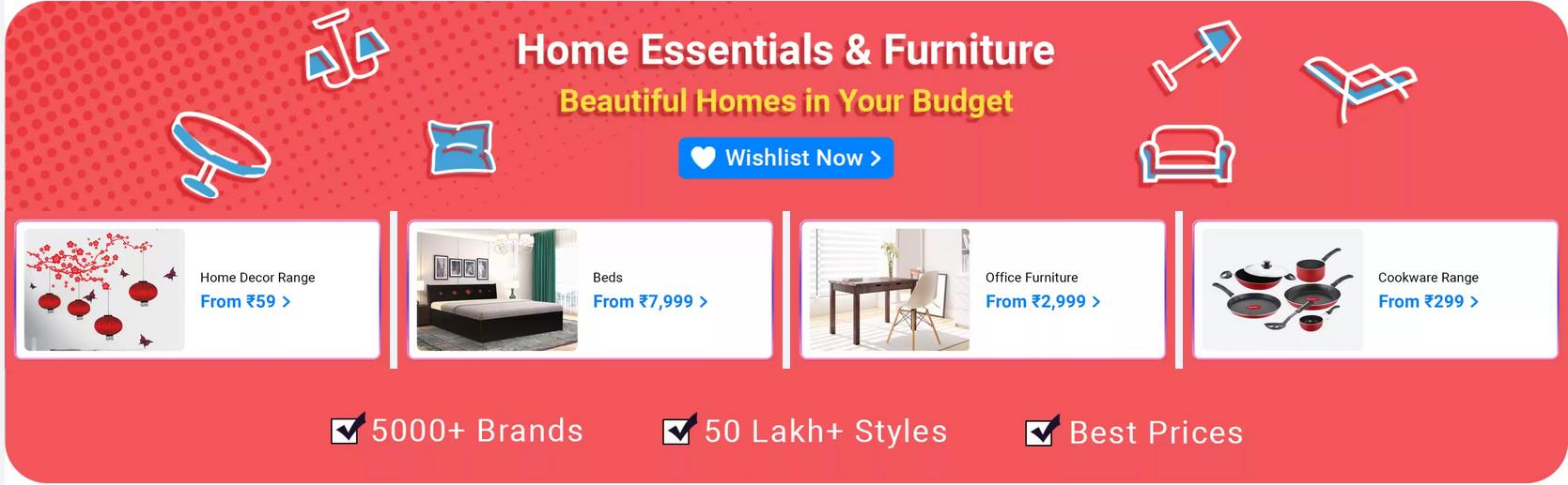 flipkart home furniture sale today