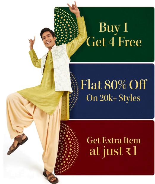 Buy 1 get 4 free on myntra
