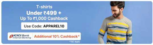 paytm mall t shirt icici net banking offer