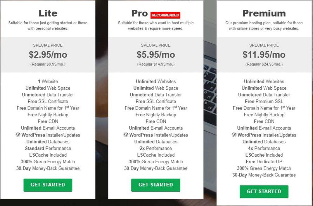 Greengeeks web hosting plans on black friday sale