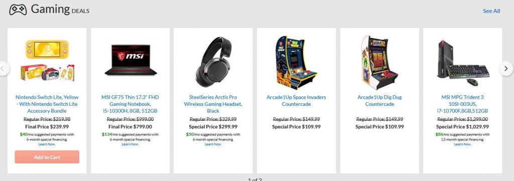 gaming deals on adorama