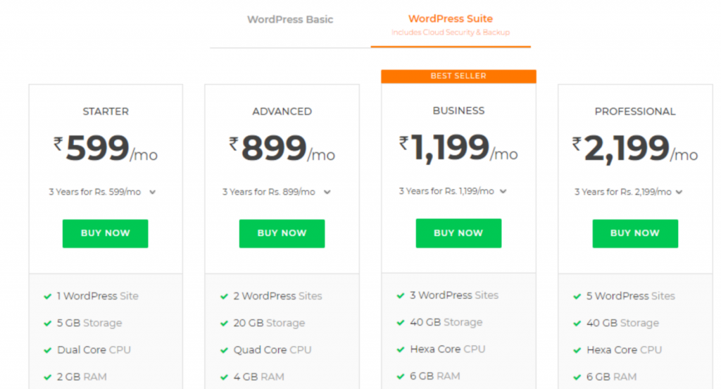 Bigrock WordPress Hosting Plans with Sitelock and codeguard