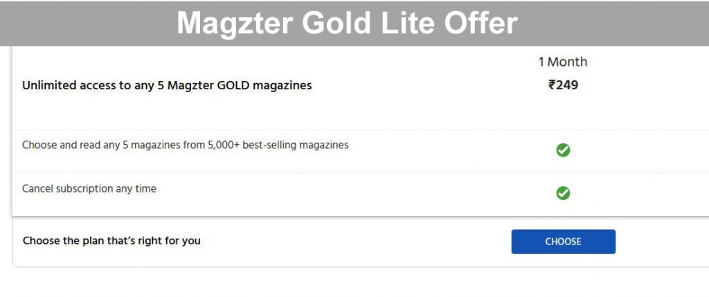 Magzter Gold Lite Offer