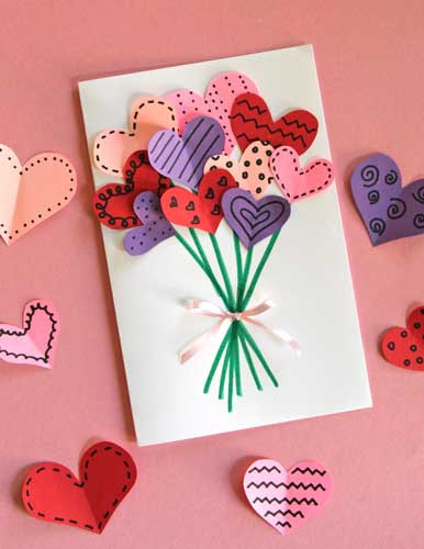 Bouquet of Hearts Card - Handmade Valentine Day Card Ideas for Teachers