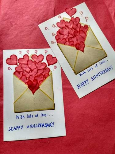 Card Filled With Hearts - Handmade Valentine Day Card Ideas for boyfriend