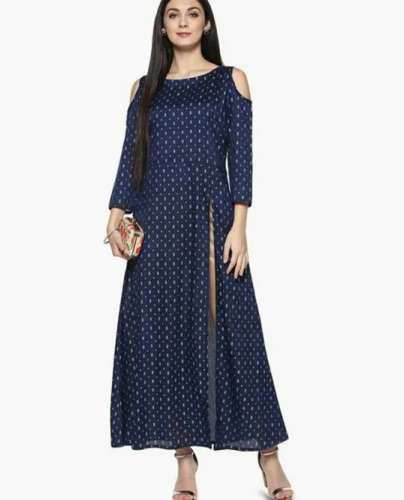 Boat Neck Kurti with Cold Shoulder front