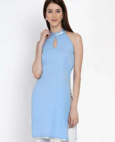 Halter Neck Kurti with Small Keyhole front