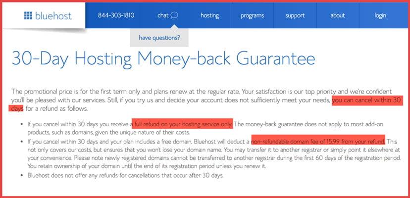 bluehost 30 days hosting money back guarantee