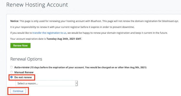 bluehost renew hosting account
