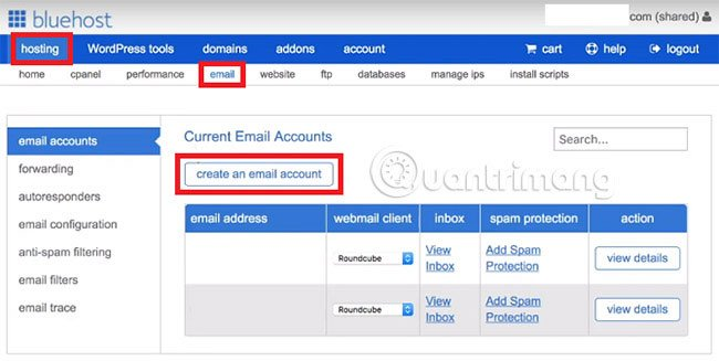 create email account with Gsuite or Office 365 in Bluehost