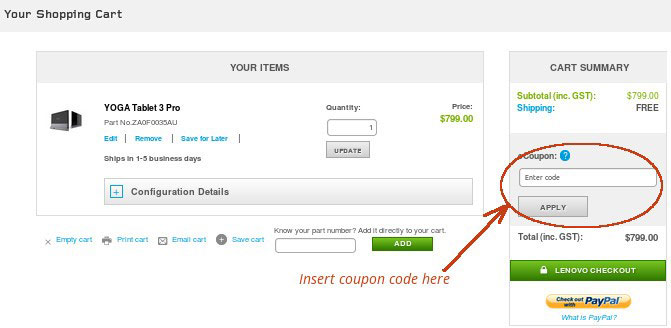 how to use lenovo coupons